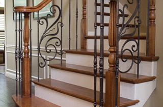 Rebecca Panels paired with Monte Carlos balusters in Oil Rubbed Bronze.
