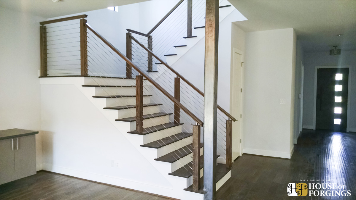 Cable railing systems for stairs balconies for Pre built stairs interior