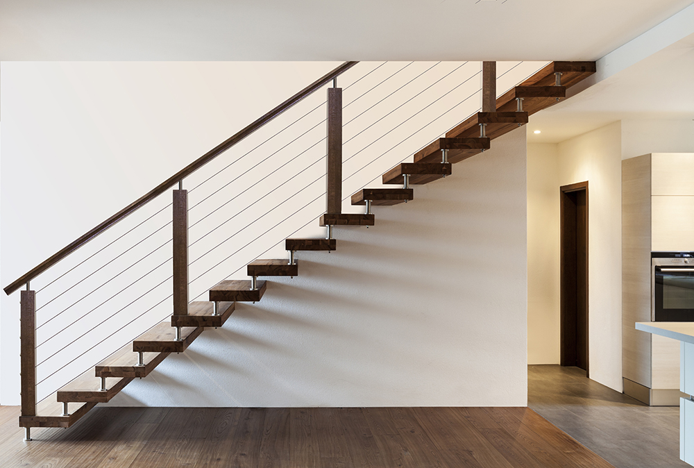 Cable Rail Modern Staircase - House of Forgings | Stair ...