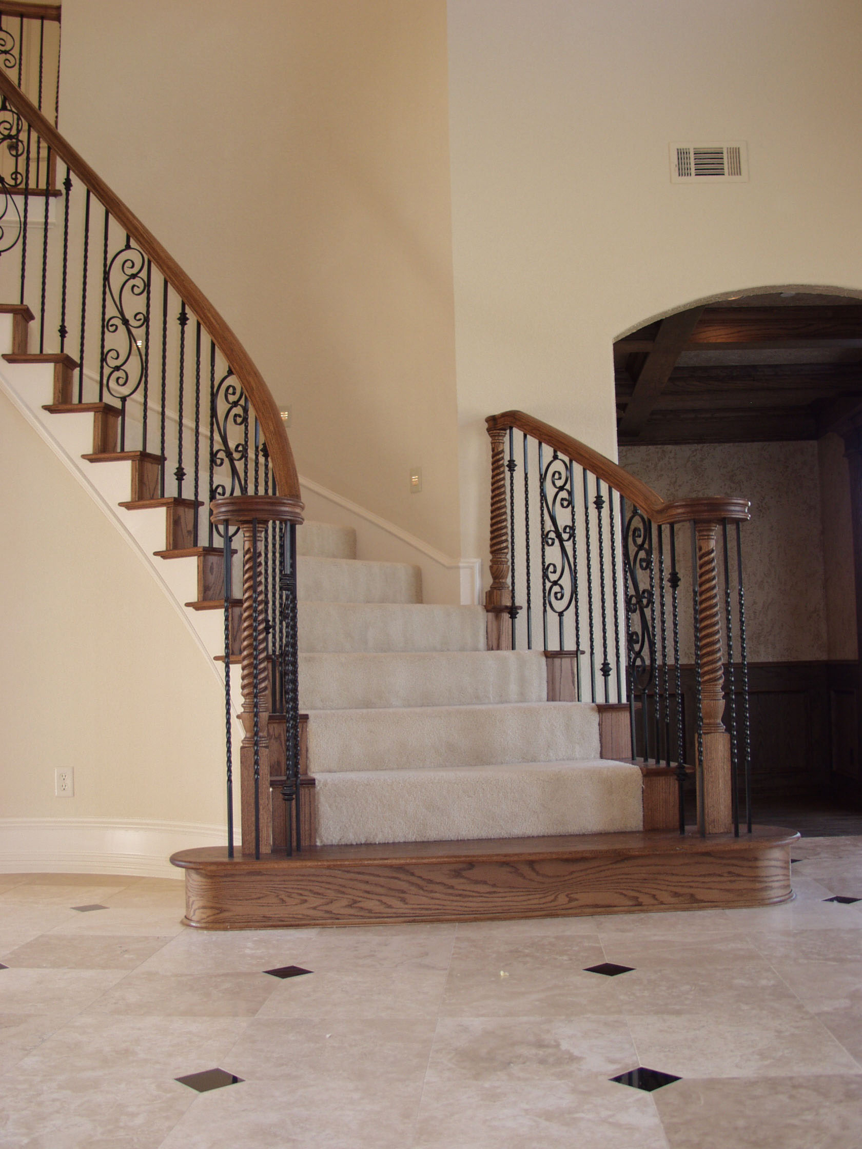 Long twist balusters baskets house of forgings stair for Stair remodel houston