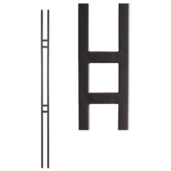 1//2 Square Box of 10 Hollow 44 Tall Double Circle Satin Black Iron Balusters