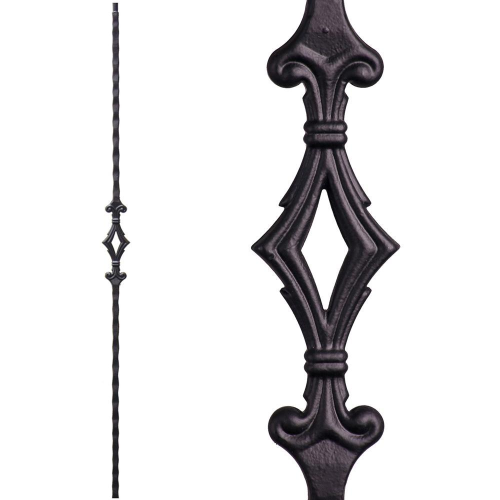 Satin Black 2.9.8 Single Large Square Hammered Spiral Scroll Solid Iron Baluster for Staircase Remodel